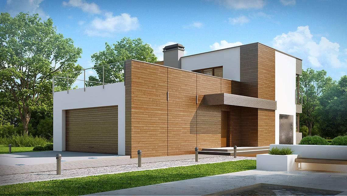 Проект двухэтажного коттеджа модерн с огромной террасой над гаражом