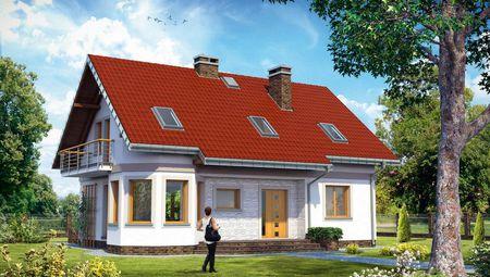Проект 1,5-этажного дома с угловым эркером