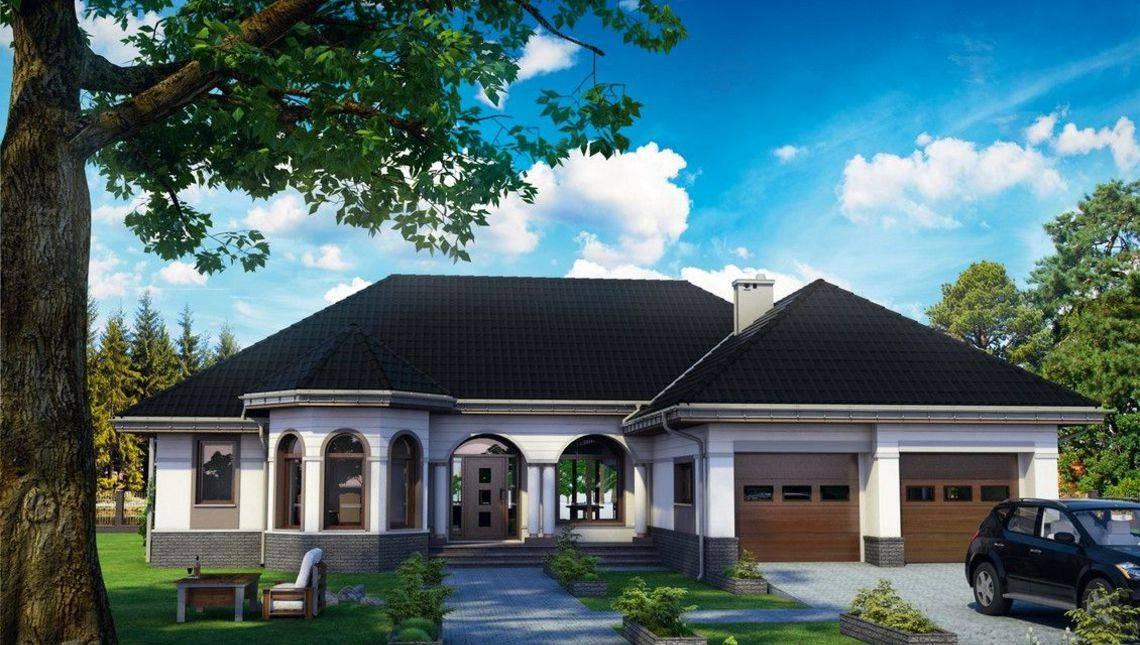 Красивый одноэтажный коттедж с интересным фасадом