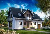 Большой загородный дом с элегантными балконами и эркером