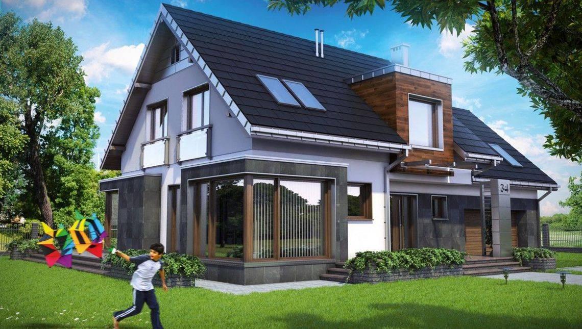 Двухэтажное помпезное строение с просторным гаражом