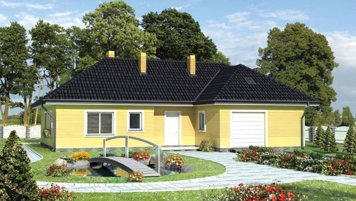 Архитектурный проект симпатичной одноэтажной виллы с гаражом для одного автомобиля