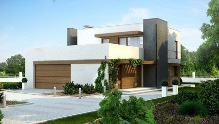 Проект современного дома с террасой и гаражом для 2 авто