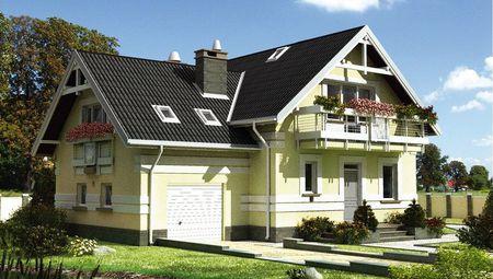 Компактный двухэтажный коттедж со стильным балконом и террасой