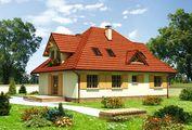 Стильный коттедж с красивыми балконами и небольшим крыльцом