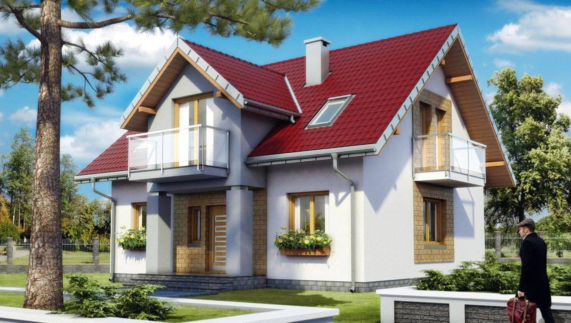 Благородного вида строение на два этажа