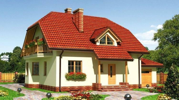 Проект двухэтажного особняка с балконом и небольшой террасой