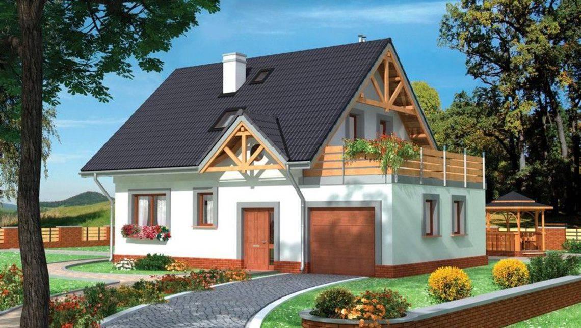 Проект небольшого дома с мансардой и просторным гаражом