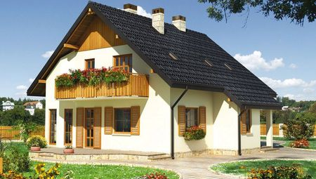 Архитектурный проект оригинального загородного коттеджа с крыльцом и террасой