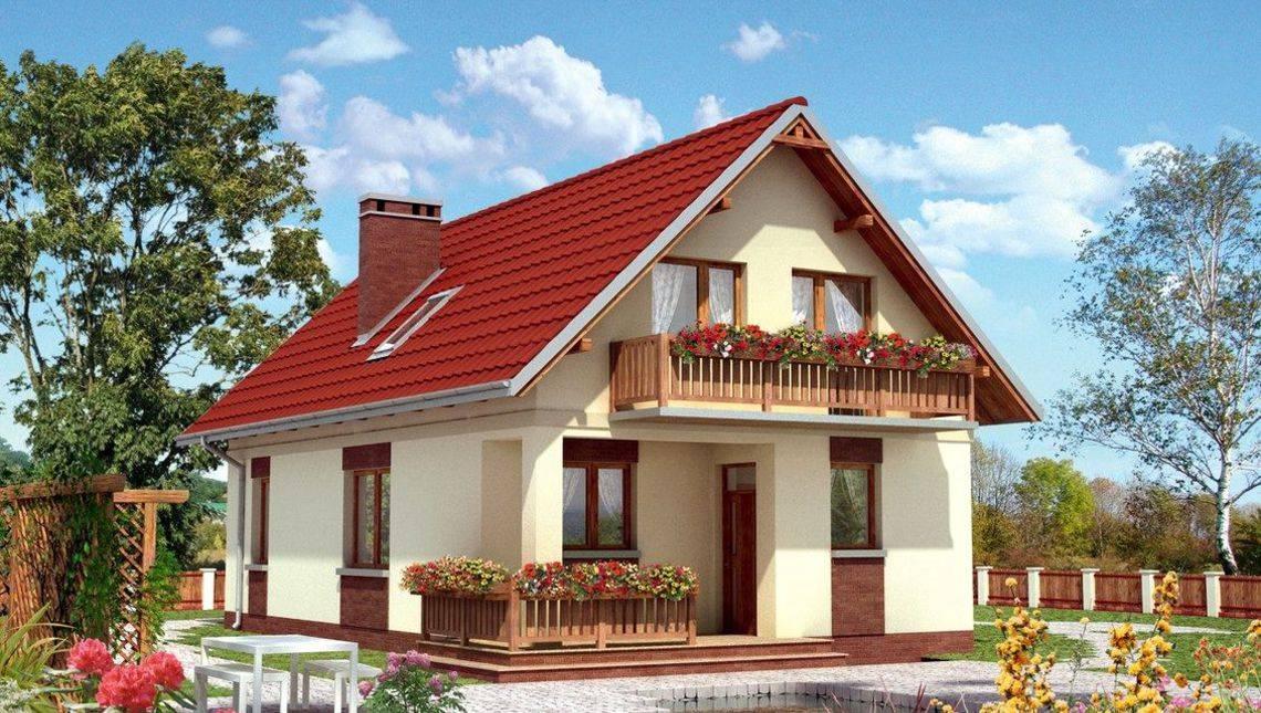 Архитектурный проект двухэтажного дома с верандой и балконом из дерева