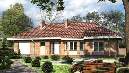 Красивый загородный дом с одним этажом и площадью в 210 m²