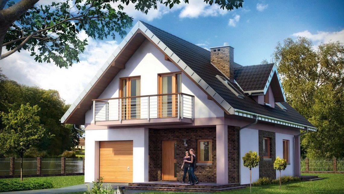 Проект небольшого особняка с гаражом и мансардой с площадью 110 m²