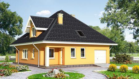 Проект стильного дома с пятью комнатами и простым дизайном