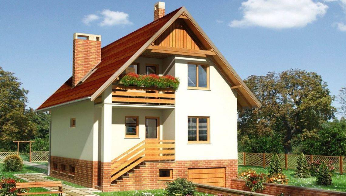 Небольшой загородный дом с гаражом в цокольном этаже
