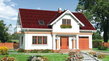 Загородный дом с мансардой и площадью 180 m²