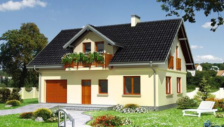 Привлекательный проект дома 180 m² с мансардой и гаражом на 1 машину