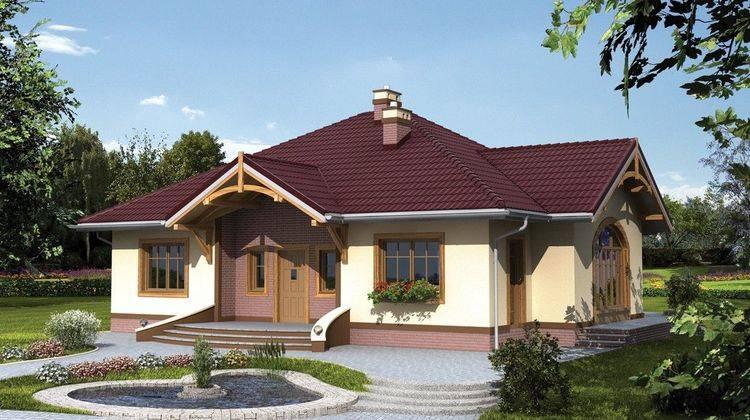 1 этажный коттедж с многоскатной крышей