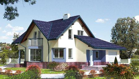 Красивый мансардный дом с выступающим крыльцом