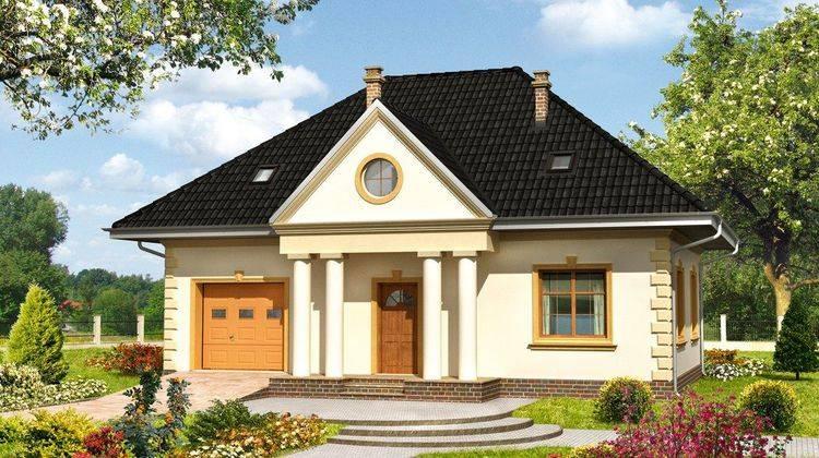 Двухэтажный жилой дом классического стиля с гаражом