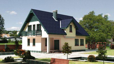 Проект живописного двухэтажного коттеджа мансардного типа
