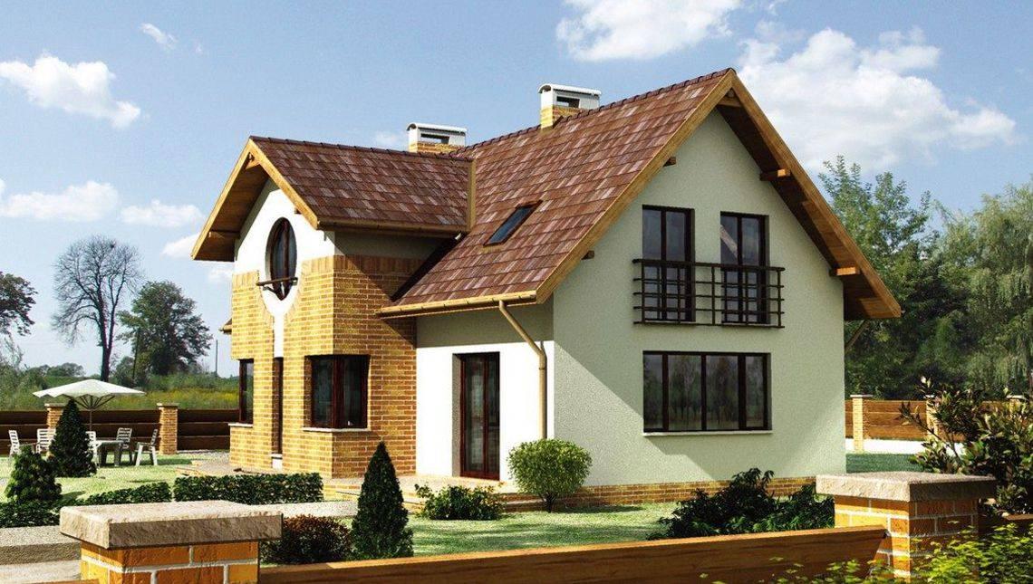 Проект современного двухэтажного дома, декорированного кирпичом