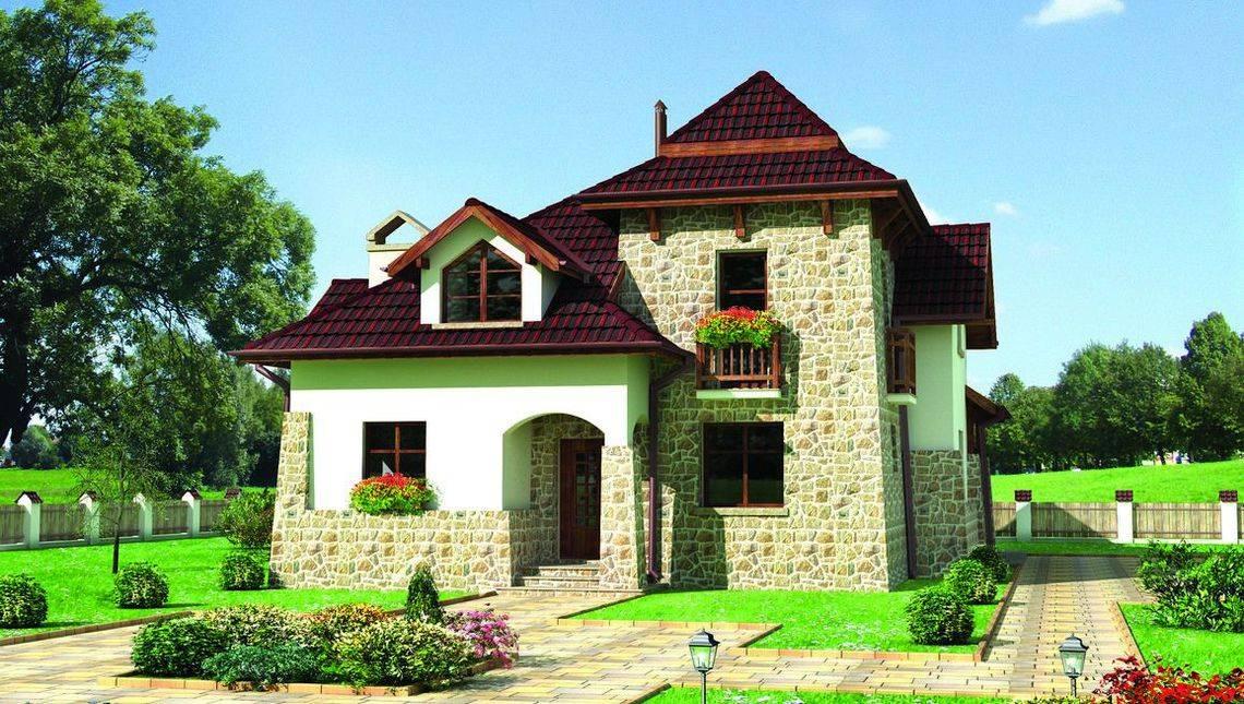 Проект двухэтажного жилого дома, декорированного камнем