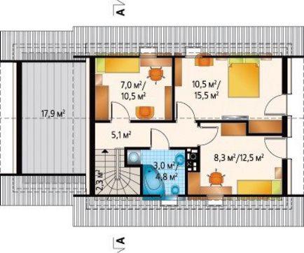 Коттедж с гаражом с тремя спальнями в мансарде