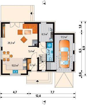 Компактный мансардный коттедж с гаражом на 1 автомобиль