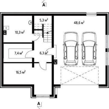Проект коттеджа с гаражом на два авто в цокольном этаже