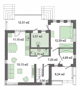 Проект роскошного коттеджа с четырьмя спальнями
