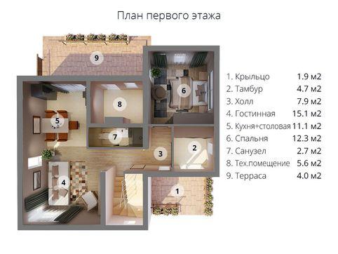 Стильный особняк площадью 150 м2
