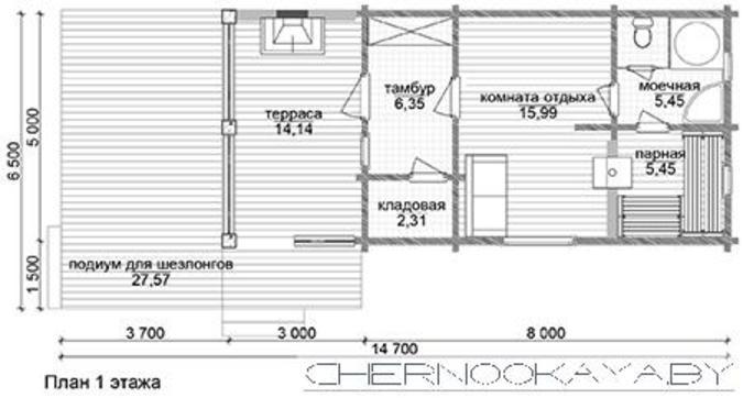 Компактное загородное здание для отдыха и приема банных процедур