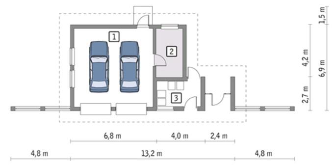 Проект современного гаража на два авто с автомастерской