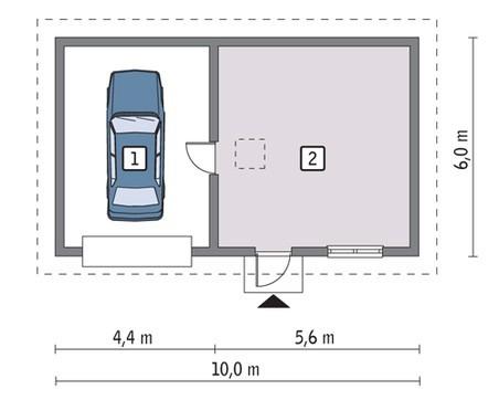 Проект гаража на 1 авто с четырехскатной крышей
