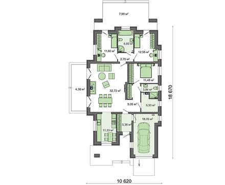 Проект жилого дома на 4 спальни