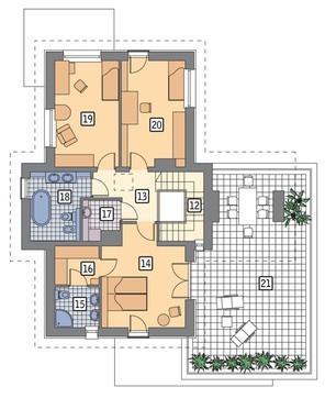 Проект высокого дома с террасой на втором этаже