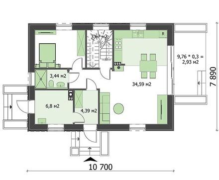 Проект небольшого дома на 2 этажа