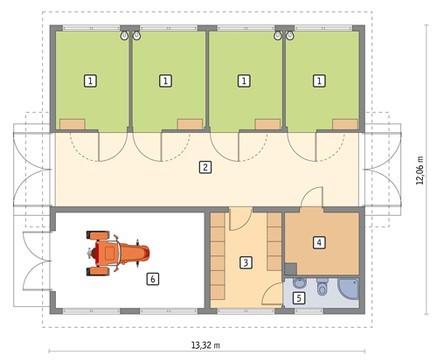 Проект конюшни с гаражом и комнатой отдыха