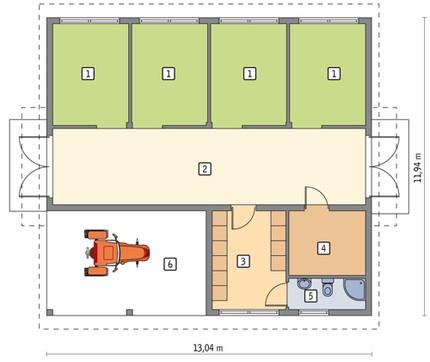 Проект конюшни с комнатой отдыха и навесом