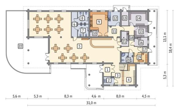 Проект здания под предприятие общественного питания с жилыми апартаментами