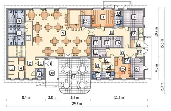 Проект предприятия общественного питания с жилыми апартаментами
