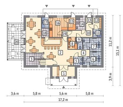 Проект торгового комплекса с верандой и жилыми апартаментами
