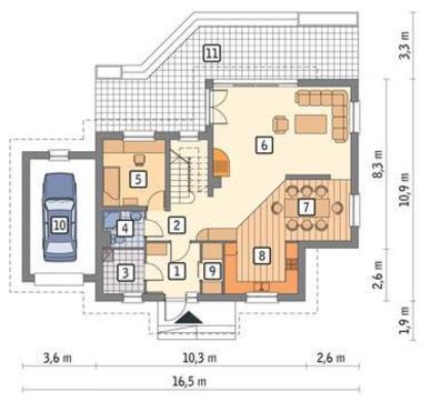Проект современного здания с большой гостиной