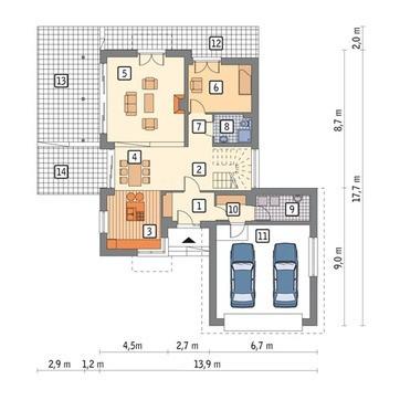 Проект красивого дома на 2 этажа декорированного деревом