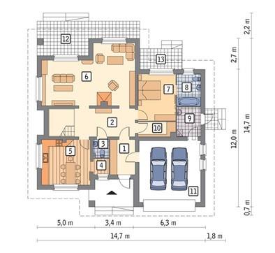 Проект красивого дома с гаражом на 2 авто