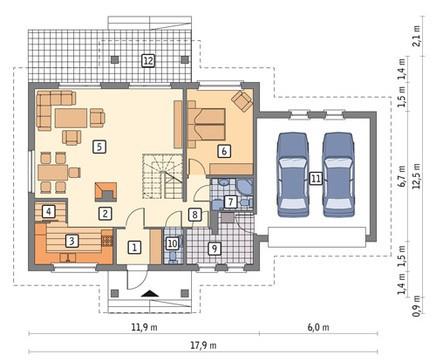 Проект видного двухэтажного дома