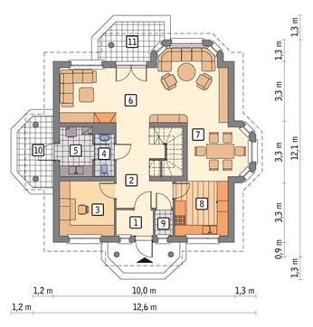Проект видного двухэтажного дома на 5 спален