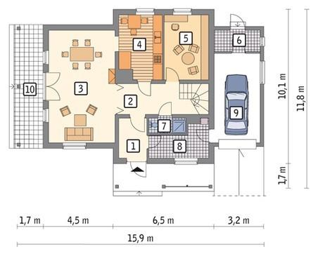 Проект двухэтажного интересного дома