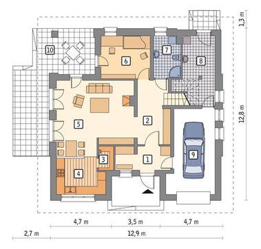 Проект жилого дома под интересной крышей