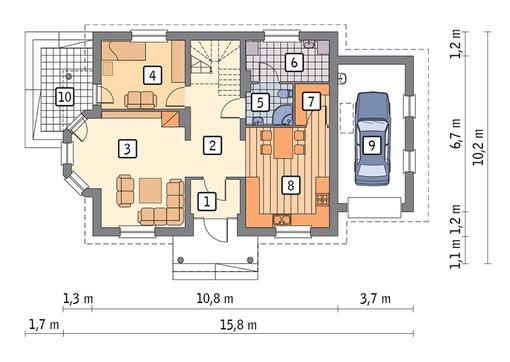 Проект стильного дома с двумя балконами